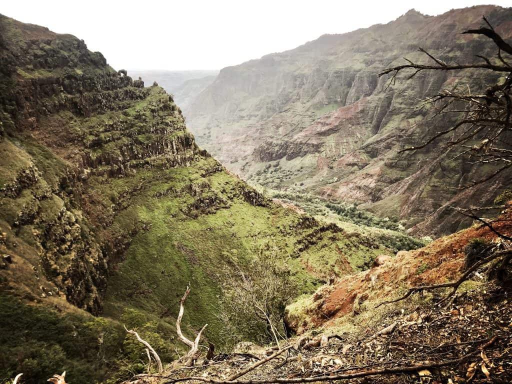 ...nun sind wir schon einen Schritt weiter! Der Blick in den Canyon vom Kopf des tosenden Wasserfalls