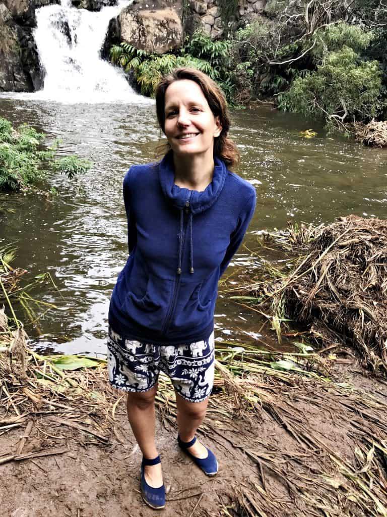 Angekommen! Nach über drei Kilometern ist man an der ersten Stufe von Waipo'o Falls
